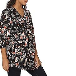 Dorothy Perkins - Maternity black floral belted top