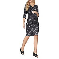 Dorothy Perkins - Maternity black floral ruched dress