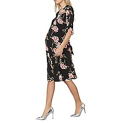 Dorothy Perkins - Maternity black floral belted wrap dress