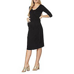 Dorothy Perkins - Maternity nursing black self-tie wrap dress