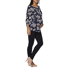 Dorothy Perkins - Maternity navy floral ballet wrap top