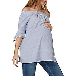Dorothy Perkins - **maternity blue tie bardot top