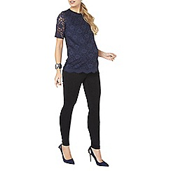 Dorothy Perkins - Maternity navy floral lace front t-shirt