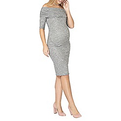 Dorothy Perkins - Maternity grey ribbed bardot bodycon dress