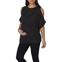 Dorothy Perkins - Maternity monochrome spotted cold shoulder top
