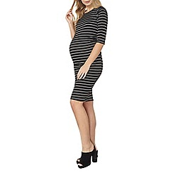 Dorothy Perkins - Maternity monochrome stripe ruched dress