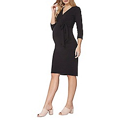 Dorothy Perkins - Maternity black self-tie ruche dress