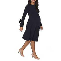 Dorothy Perkins - Maternity navy tie sleeve fit and flare dress
