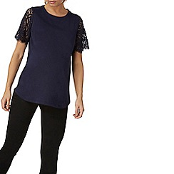 Dorothy Perkins - **maternity navy lace sleeves t-shirt
