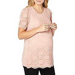 Dorothy Perkins - **maternity pink lace puff sleeves top