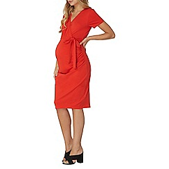 Dorothy Perkins - **Maternity red short sleeve tie wrap dress