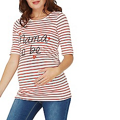 Dorothy Perkins - **maternity red striped 'mama to be' motif t-shirt