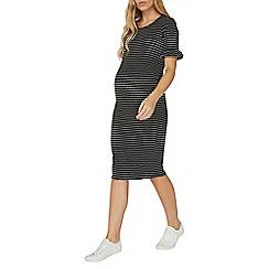 Dorothy Perkins - **maternity monochrome striped frill bodycon dress