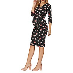 Dorothy Perkins - **maternity black polka dot and floral print bodycon dress