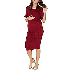 Dorothy Perkins - **maternity burgundy frill sleeve bodycon dress