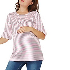 Dorothy Perkins - **maternity pink striped flute sleeves t-shirt