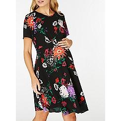 Dorothy Perkins - **maternity black cluster floral skater dress