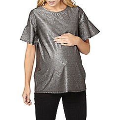 Dorothy Perkins - **maternity silver metallic frill top