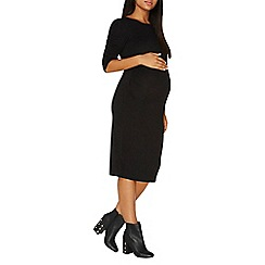 Dorothy Perkins - **maternity black ruched sleeves bodycon dress