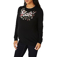 Dorothy Perkins - **maternity black floral embroidered sweatshirt