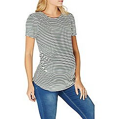 Dorothy Perkins - **maternity green and ivory striped puff sleeves top