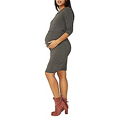 Dorothy Perkins - **maternity grey ribbed nursing bodycon dress