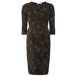 Dorothy Perkins - **maternity gold metallic wrap dress