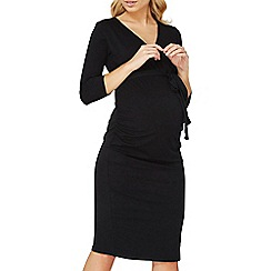 Dorothy Perkins - **maternity black ruched wrap dress