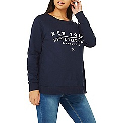 Dorothy Perkins - Maternity navy 'new york' slogan sweatshirt