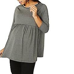 Dorothy Perkins - **maternity grey peplum hem embellished neck top