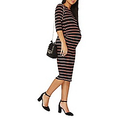 Dorothy Perkins - **maternity black and blush striped bodycon dress