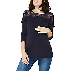 Dorothy Perkins - **maternity navy jersey ruffle lace top