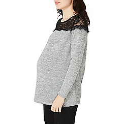 Dorothy Perkins - **maternity grey lace overlay top