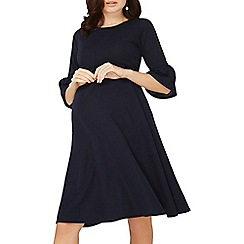 Dorothy Perkins - Maternity navy flute sleeve empire skater dress