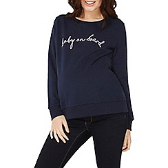 Dorothy Perkins - Maternity navy 'baby on board' slogan sweatshirt