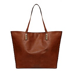 Dorothy Perkins - Tan plate front shopper bag