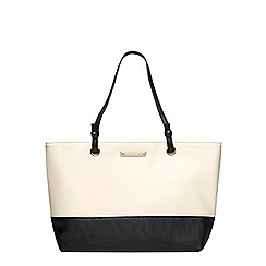 Dorothy Perkins - Blackand bone eyelet handle tote bag