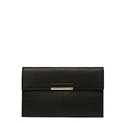 Dorothy Perkins - Black croc tab clutch bag