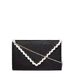 Dorothy Perkins - Black and white scallop clutch bag