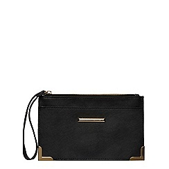 Dorothy Perkins - Black metal corner wristlet bag