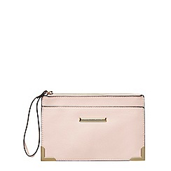 Dorothy Perkins - Pink metal corner wristlet bag