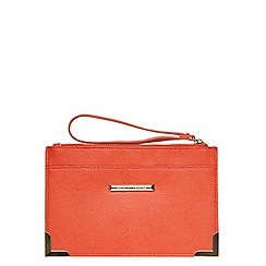 Dorothy Perkins - Orange metal corner wristlet bag