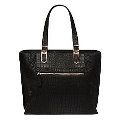 Dorothy Perkins - Black croc zip front tote bag