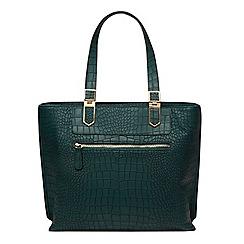 Dorothy Perkins - Teal croc zip front tote bag