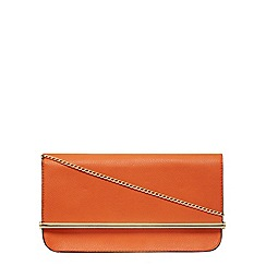 Dorothy Perkins - Orange roll bar clutch bag