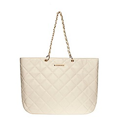 Dorothy Perkins - Bone large quilted tote bag