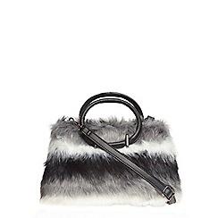 Dorothy Perkins - Grey faux fur mini tote bag