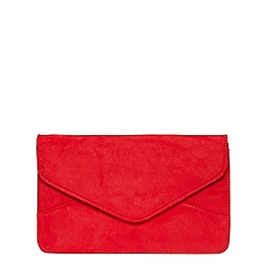 Dorothy Perkins - Red suedette clutch bag