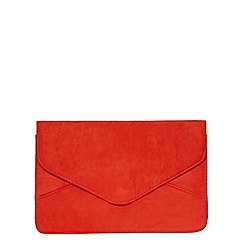 Dorothy Perkins - Orange suedette clutch bag
