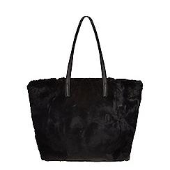 Dorothy Perkins - Black faux fur shopper bag